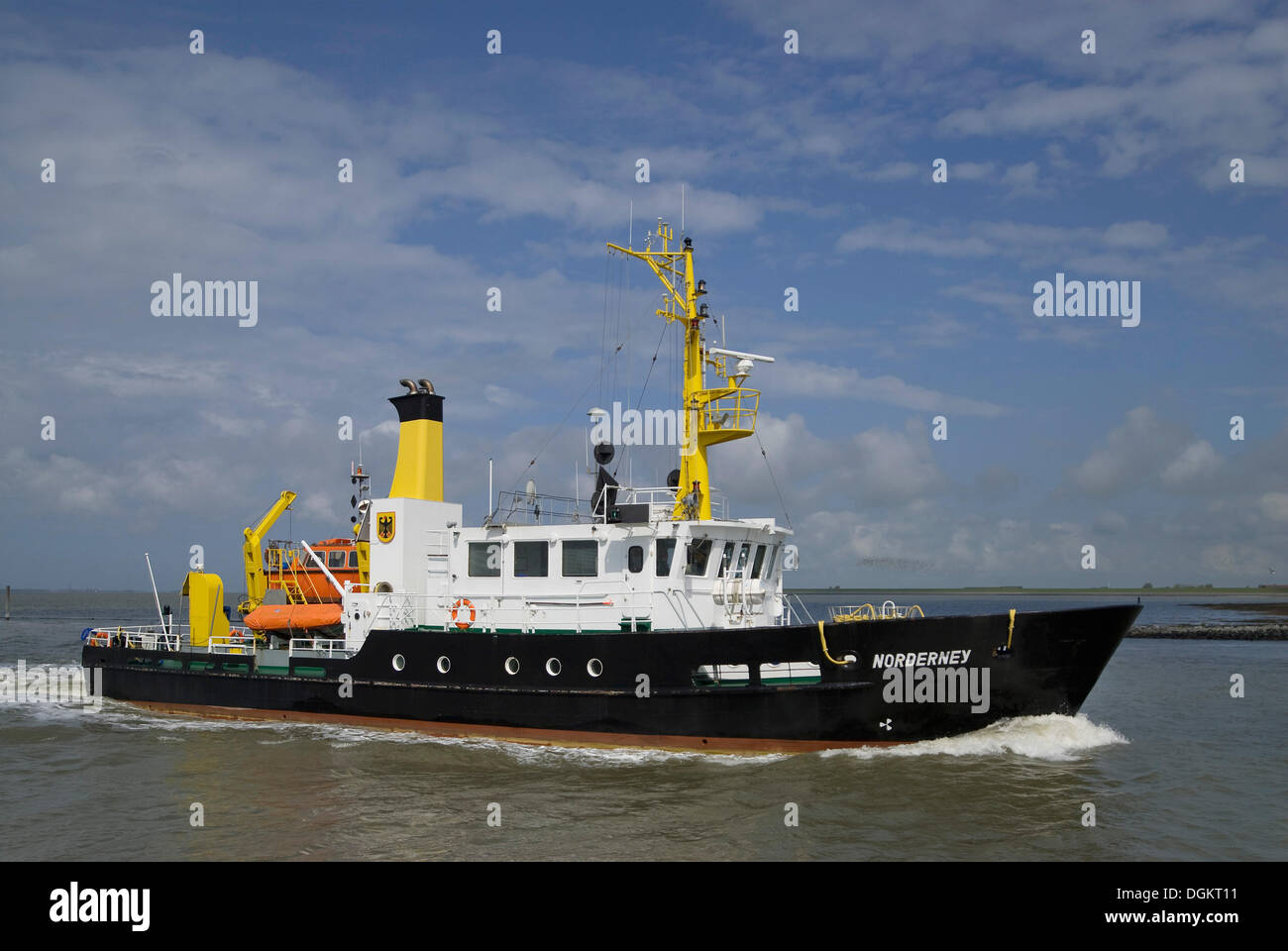 Norderney sounding vessel in motion in front of Norddeich, special ship for surveying the navigable water in the - Stock Image