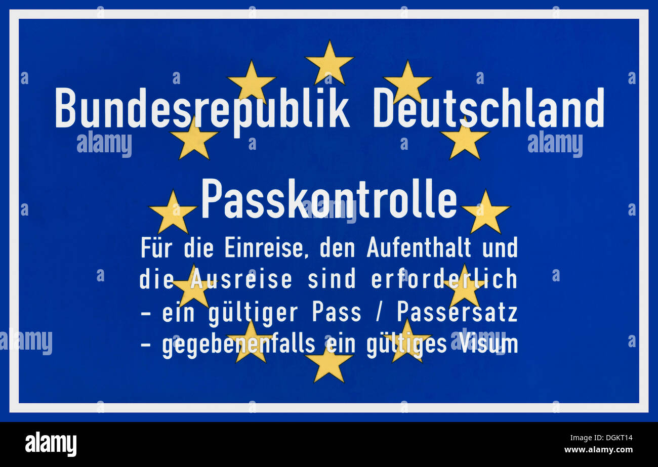 Blue sign with Europe stars, passport control Federal Republic of Germany - Stock Image