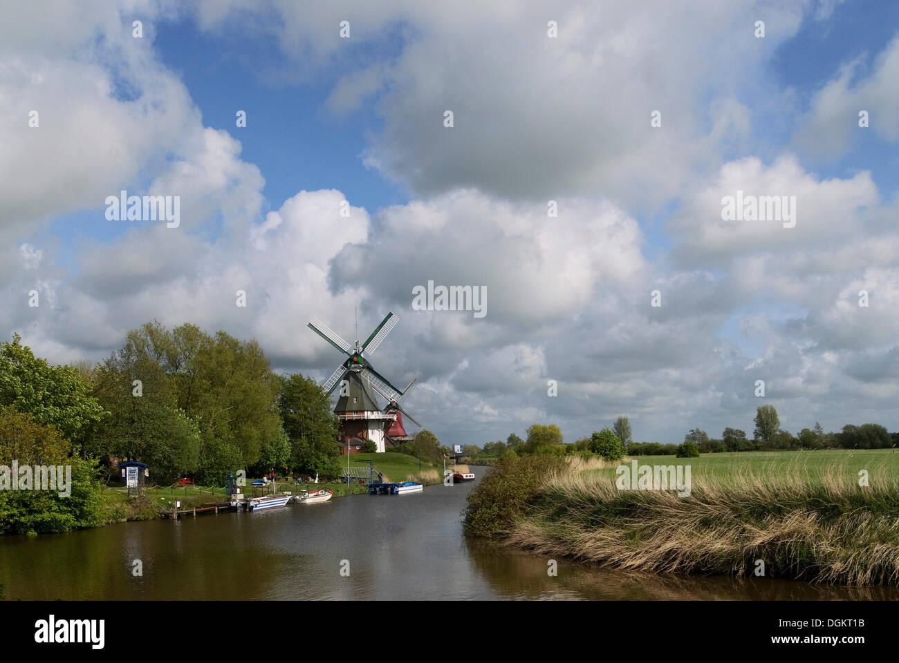 Twin Mills of Greetsiel, Krummhoern, East Frisia, Lower Saxony - Stock Image