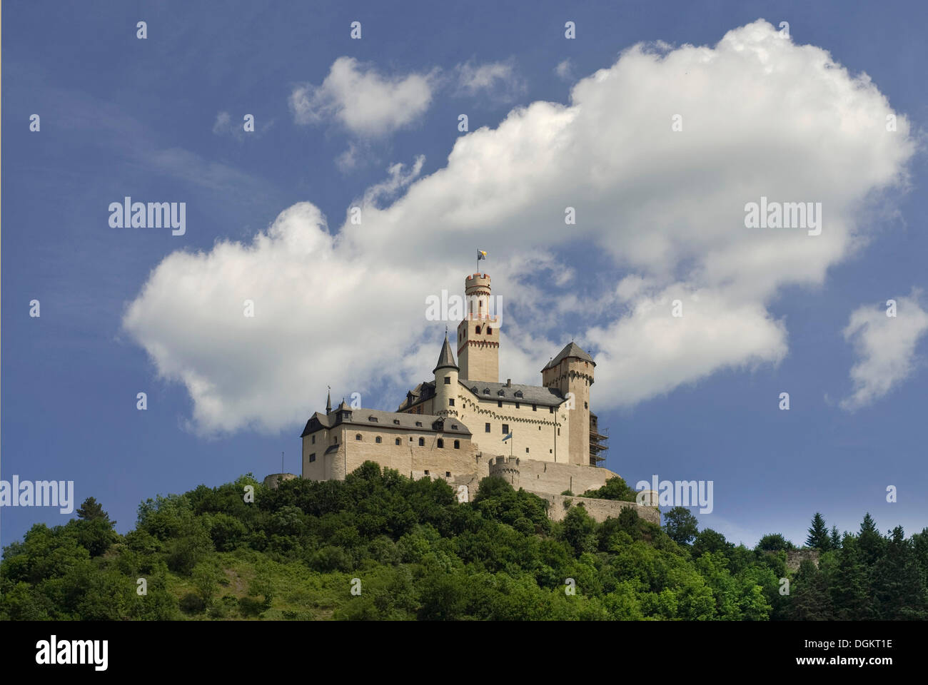 Marksburg castle, seat of the German Castle Association eV, DBV, romantic Rhine Valley, UNESCO World Heritage Ste - Stock Image