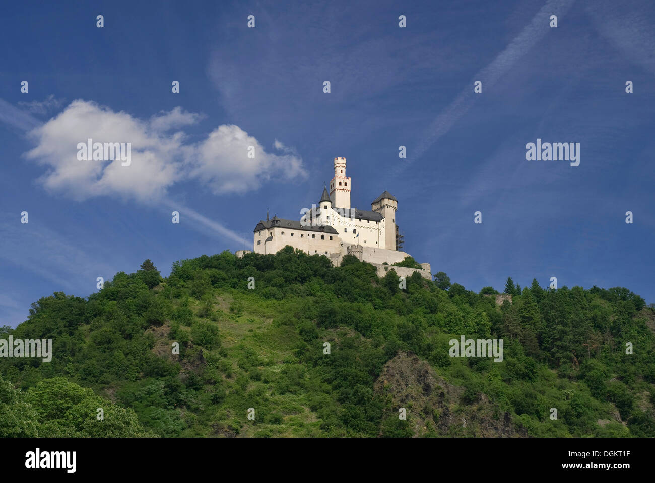 Romantic Marksburg castle in Braubach, seat of the German Castle Association eV, DBV, UNESCO World Heritage Site Oberes - Stock Image