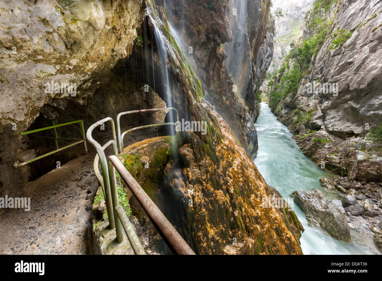 Cares Gorge footpath in the Picos de Europa National Park. - Stock Image