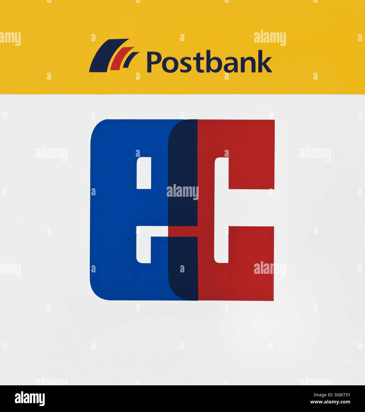 Sign, Postbank EC terminal - Stock Image