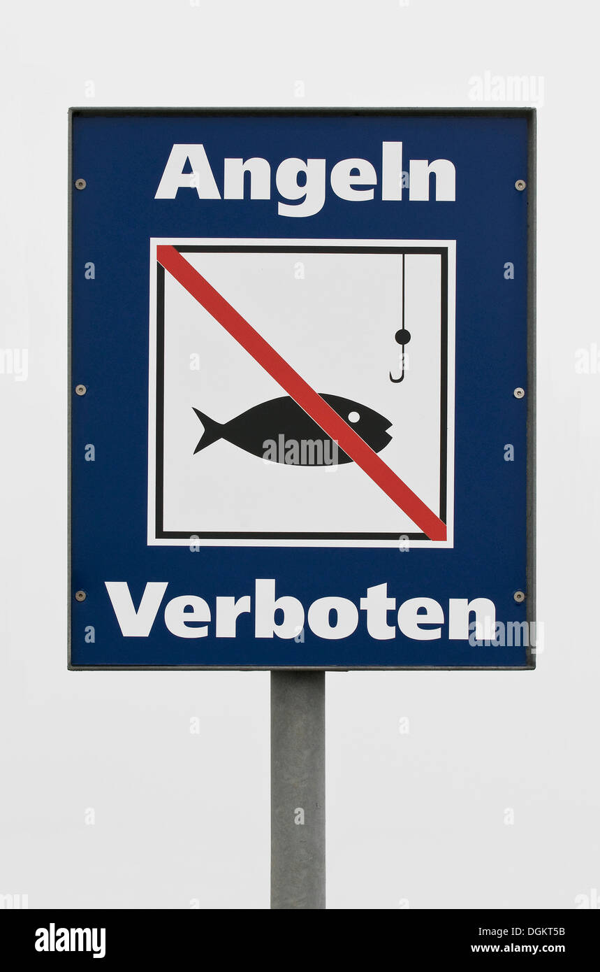 Prohibition sign, Angeln verboten, German for No Fishing - Stock Image