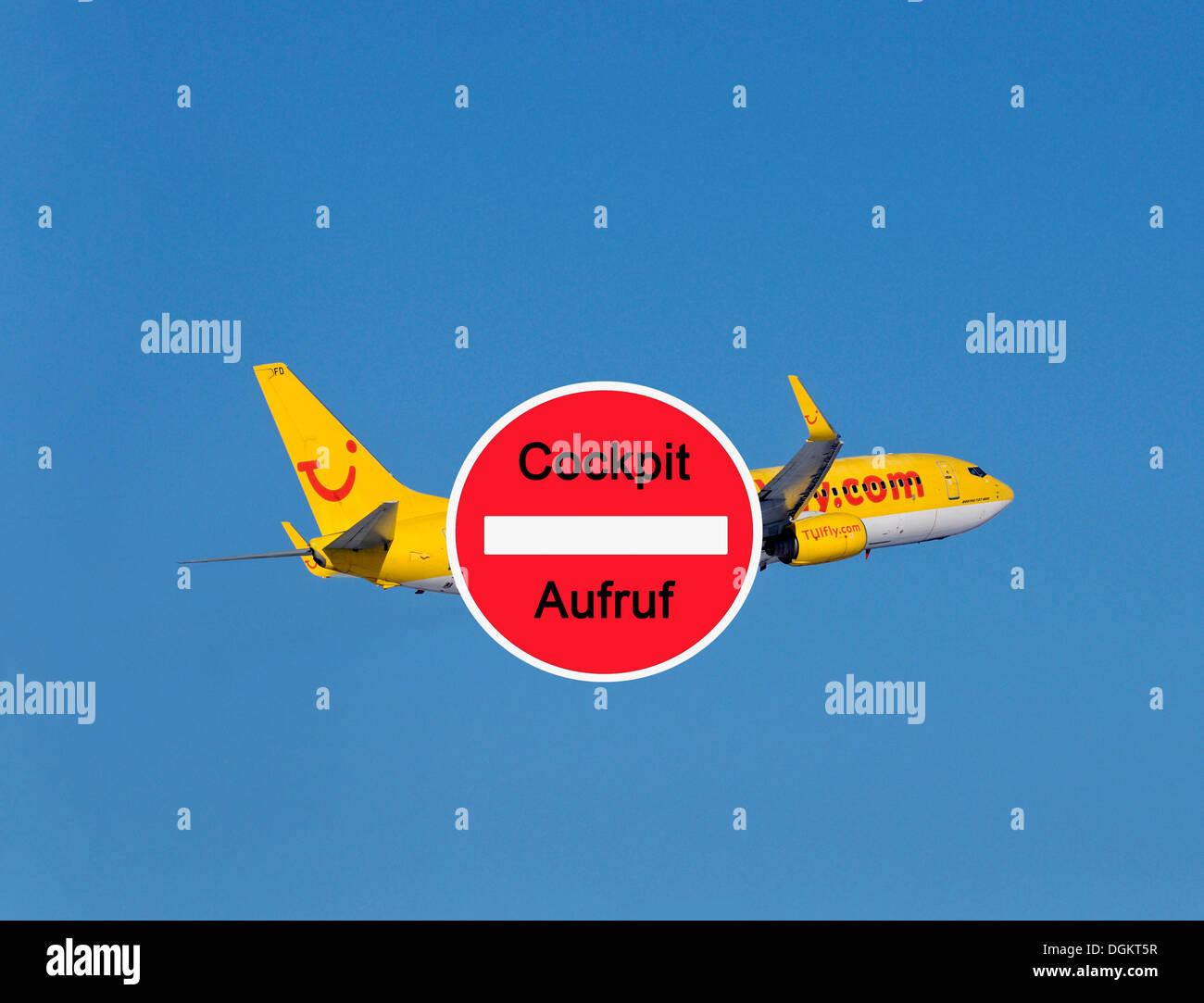 Call to action from Cockpit Union with TUI airline plane at back - Stock Image