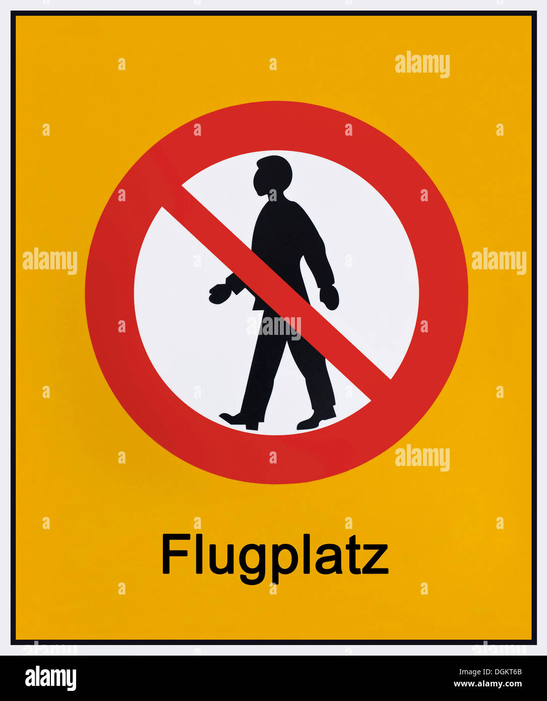 Sign at an airport, pictogram, no pedestrian access - Stock Image