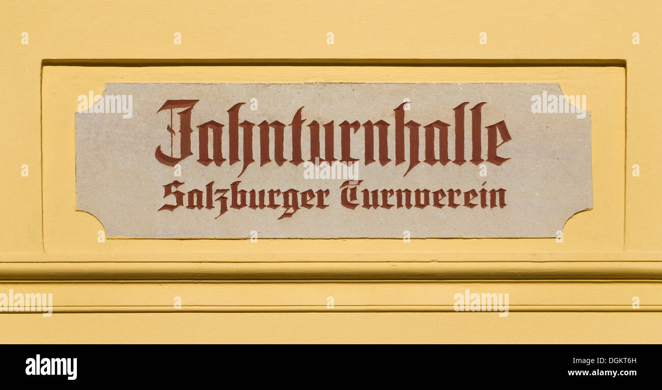 Sign, Jahnturnhalle Salzburger Turnverein, the hall of a gymnastics association, Austria, Europe - Stock Image