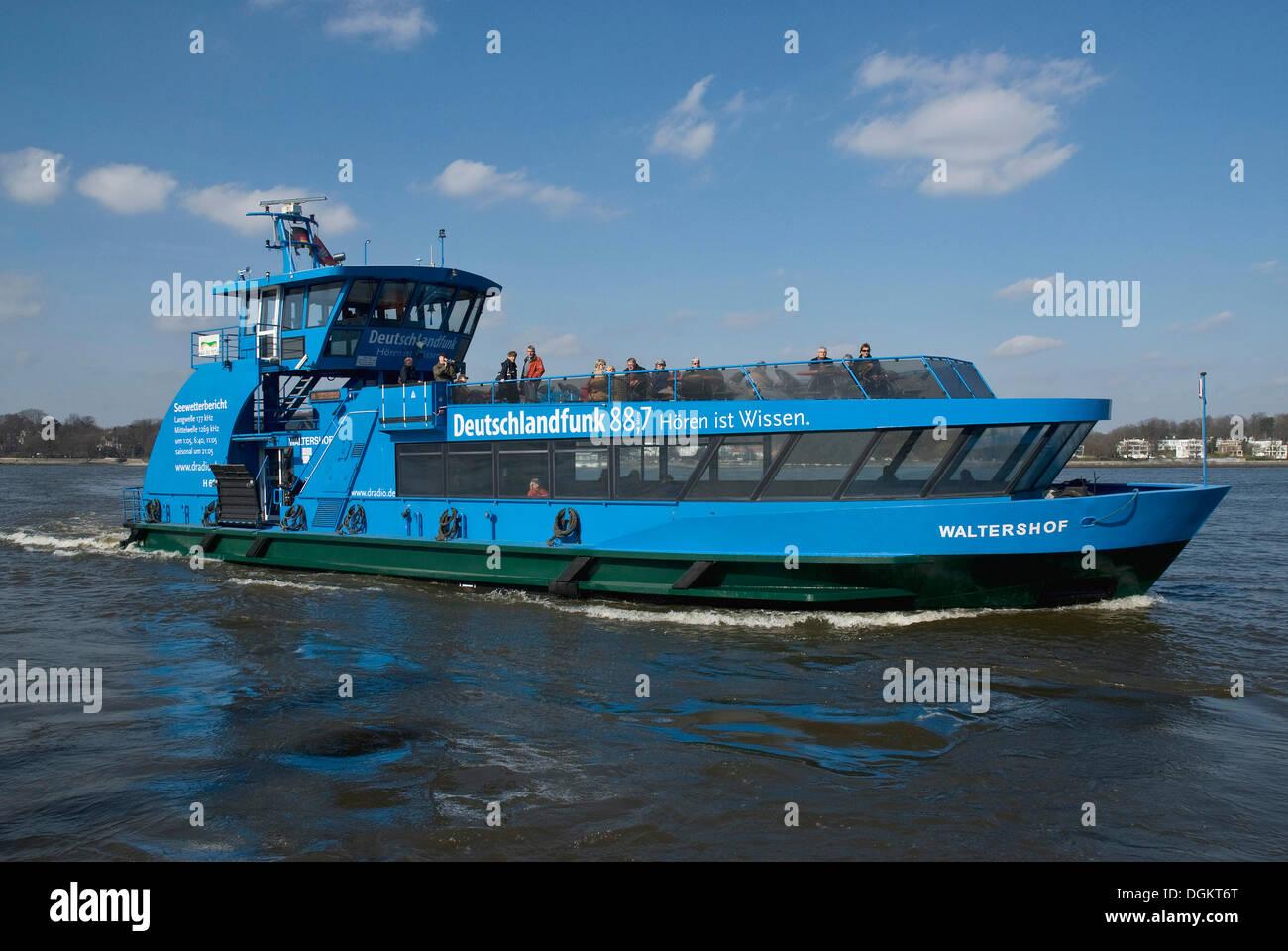 Public transport Hamburg, line 62, Waltershof port ferry on the Elbe river - Stock Image