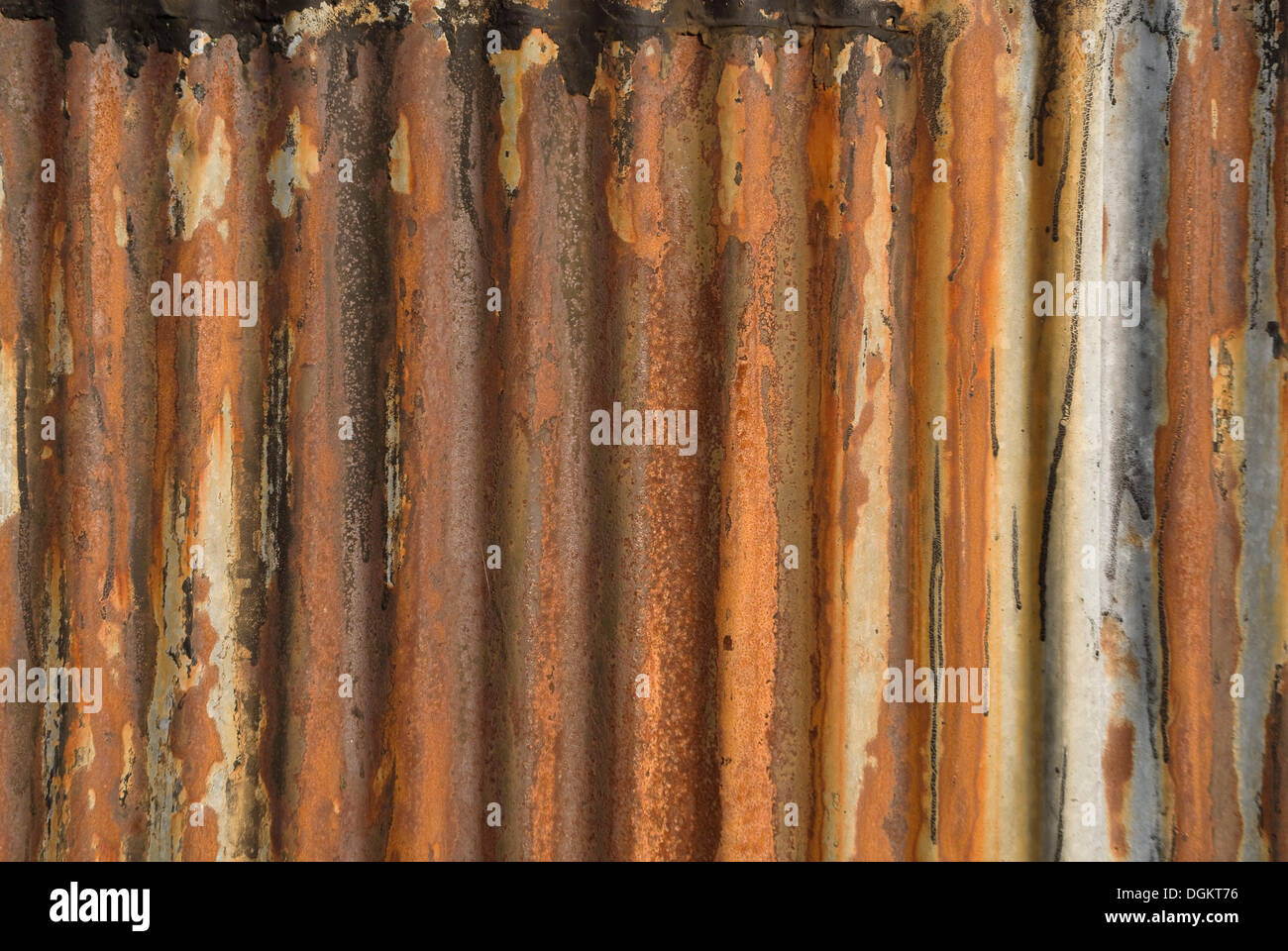 Rusty old corrugated metal plate, background - Stock Image