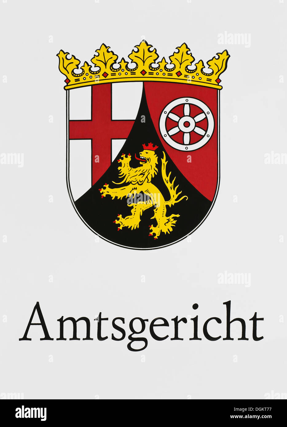 Sign, Amtsgericht, German for District Court with the coat of arms of Rhineland-Palatinate - Stock Image