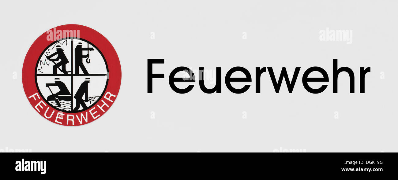 Rescue, extinction, recover, protect, logo of the Feuerwehr or German fire department - Stock Image