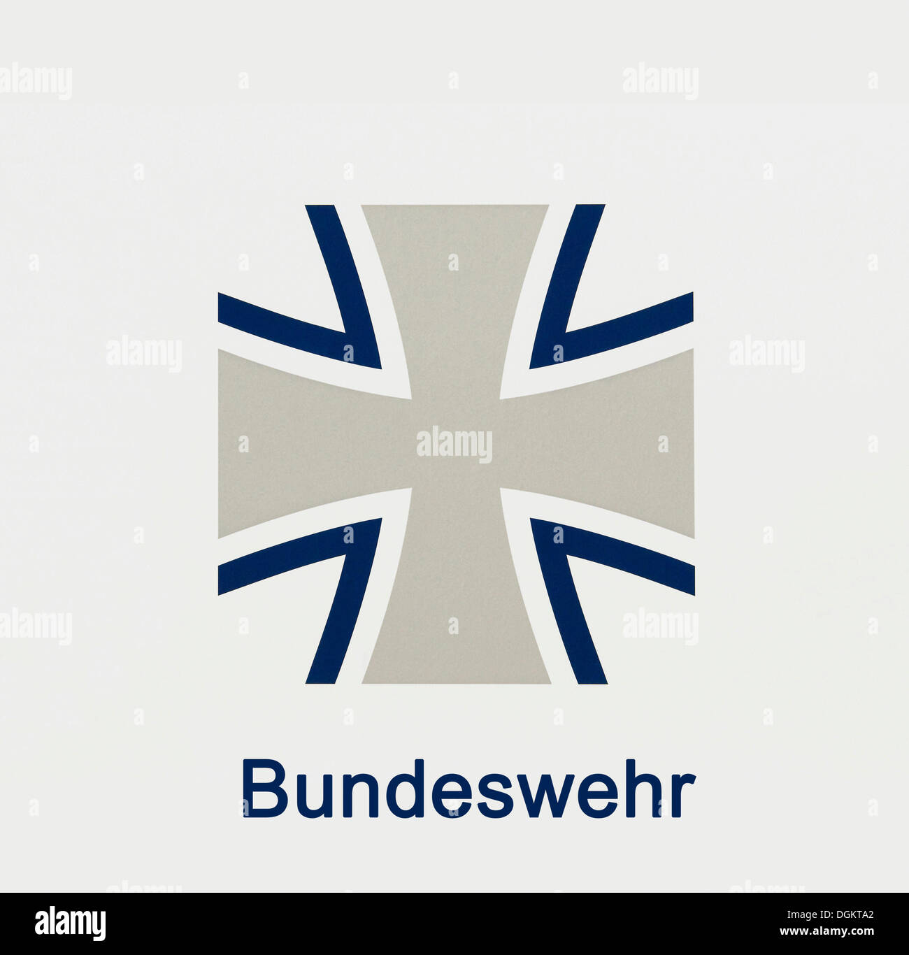 Emblem of the Bundeswehr, German federal army, stylised cross with Bundeswehr lettering - Stock Image