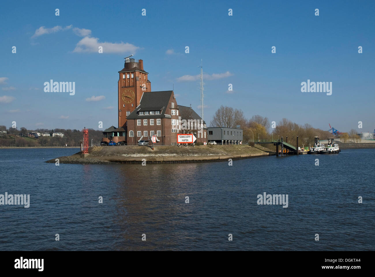 Port of Hamburg, entrance to the Tankschiffhafen, tanker port, Elbe river, Hamburg - Stock Image