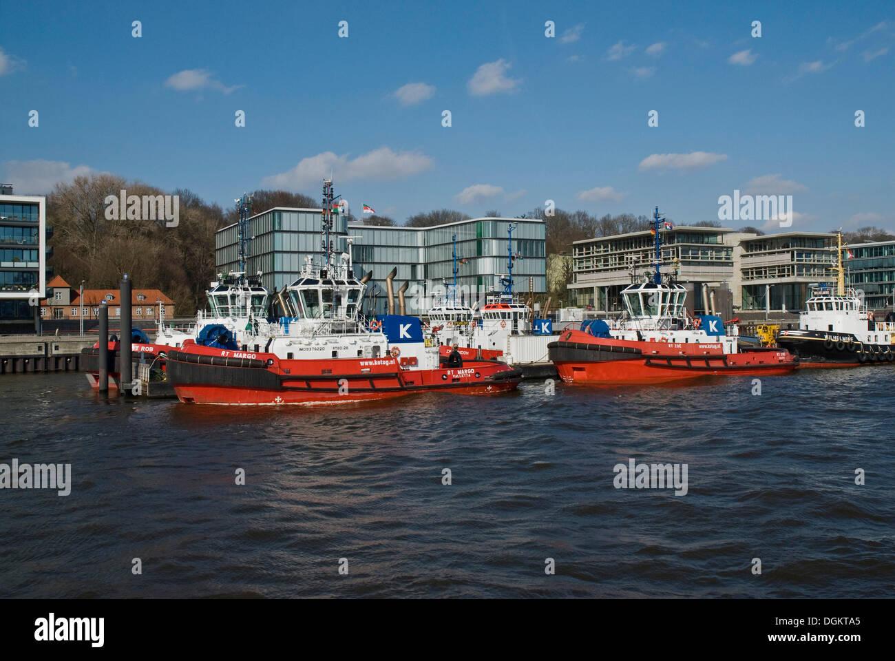 Harbour tugs in the Port of Hamburg, Elbe river, Hamburg - Stock Image