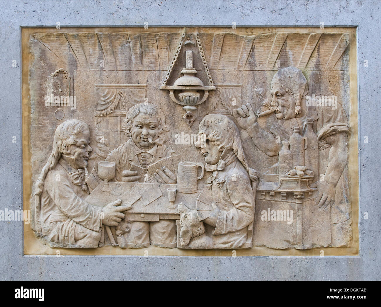 Stone tablet, relief, card players in the inn, Koblenz, Rhineland-Palatinate, PublicGround - Stock Image