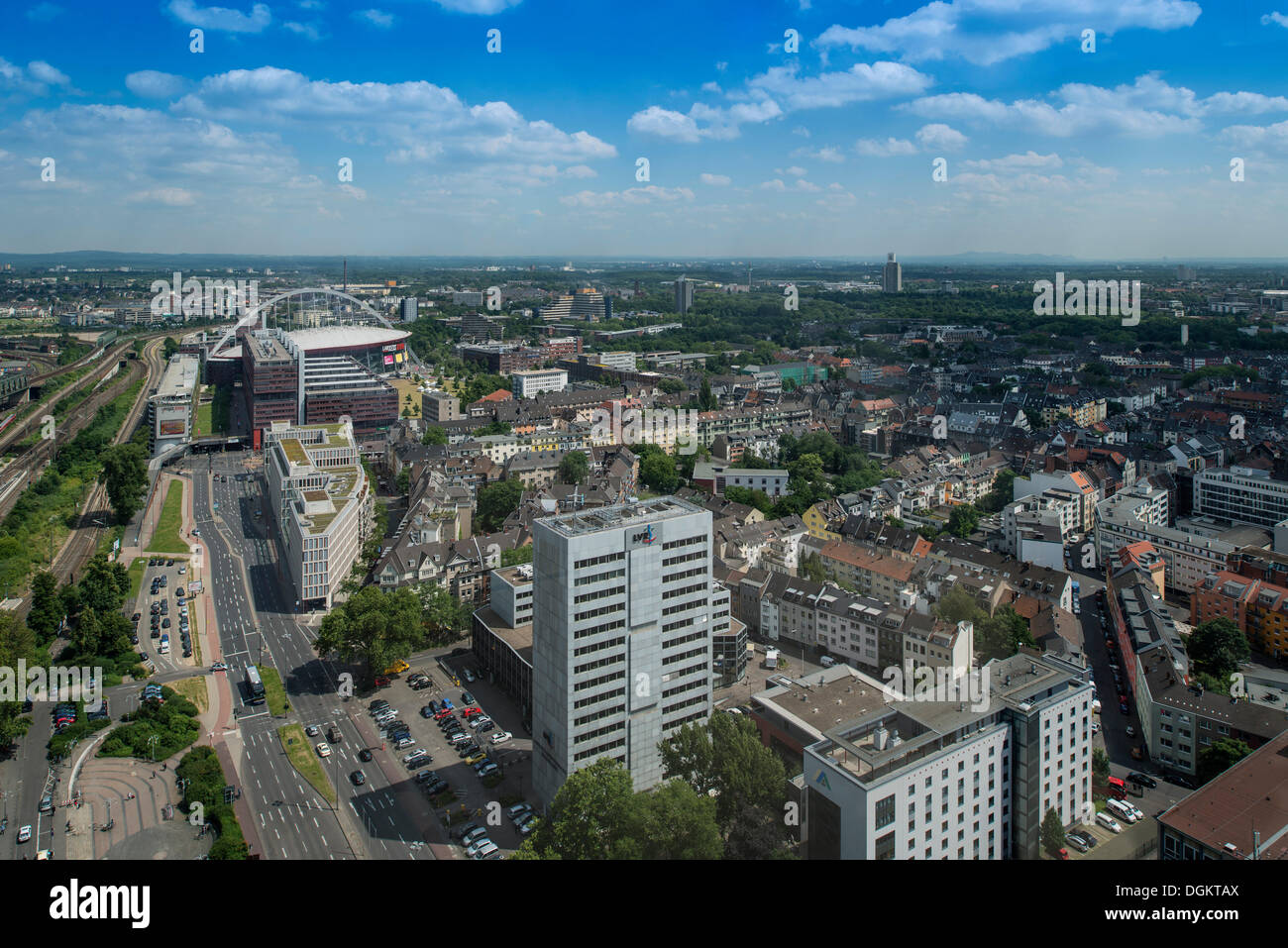 View of Cologne Deutz with the railway station forecourt, LVR Tower, Cologne Arena, Bergisches Land region - Stock Image