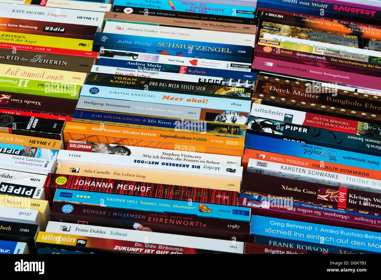 Book market, paperbacks, fiction, holiday reading, German language, PublicGround - Stock Image
