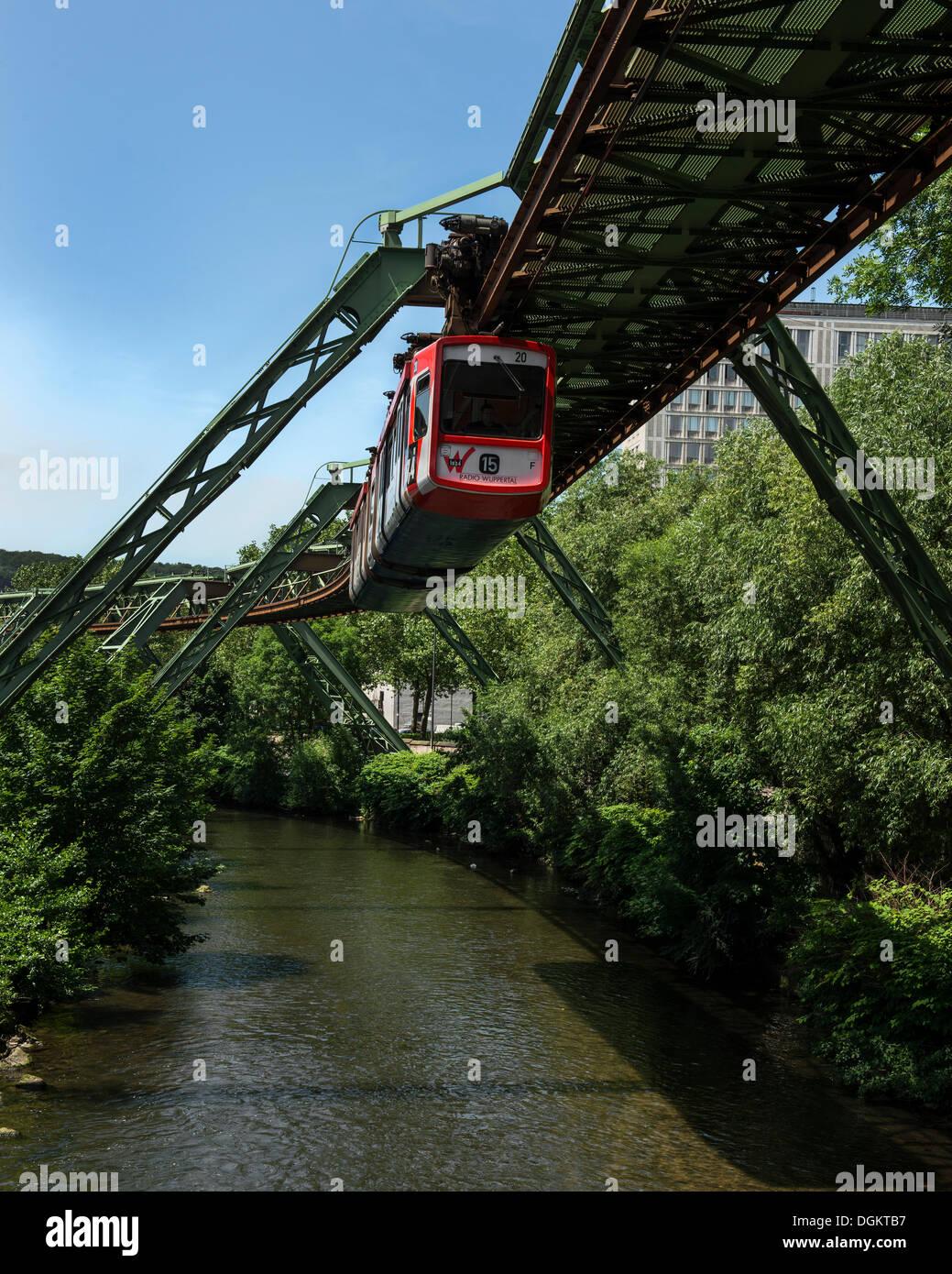 Wuppertal Schwebebahn or Wuppertal Floating Tram, suspension railway over the Wupper river, landmark of Wuppertal - Stock Image