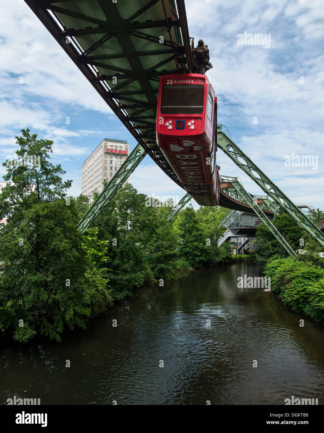 Wuppertal Schwebebahn or Wuppertal Floating Tram, suspension railway, landmark of Wuppertal, North Rhine-Westphalia - Stock Image