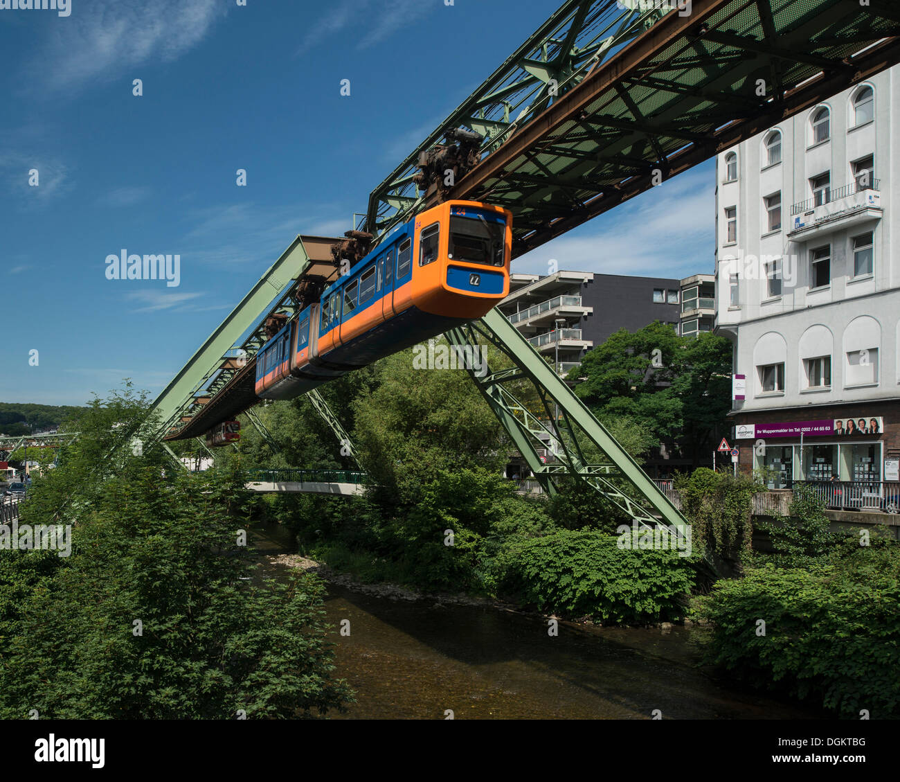 Wuppertal Schwebebahn or Wuppertal Floating Tram, suspension railway, over the Wupper river, landmark of Wuppertal - Stock Image