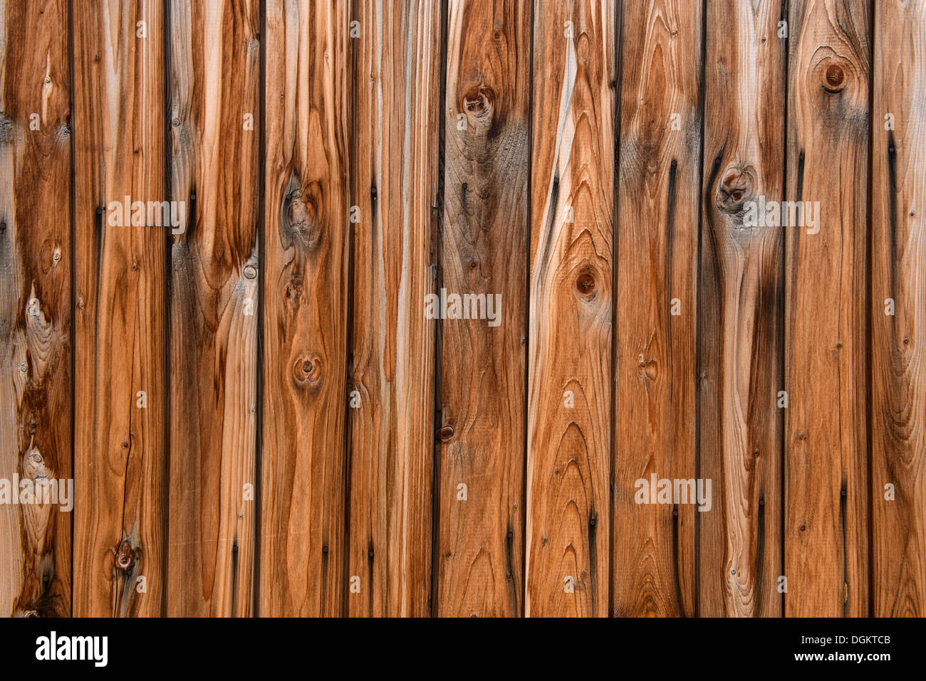 Weathered rustic wooden wall, PublicGround - Stock Image
