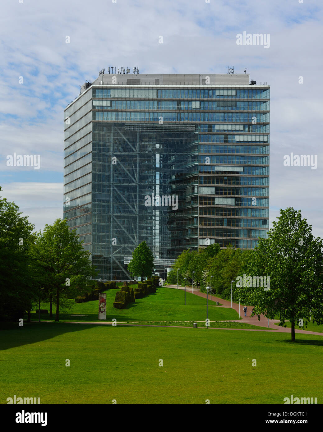 Imposing Stadttor Duesseldorf building, a modern office building close to the Media Harbour, North Rhine-Westphalia - Stock Image