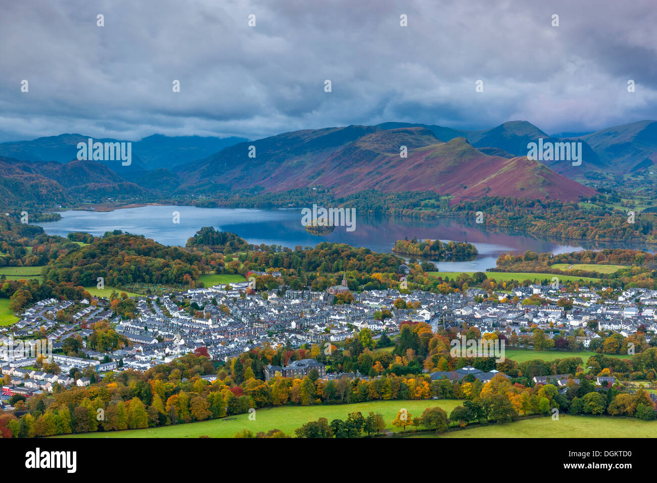 View over Keswick and Derwent Water from Latrigg summit towards Derwent Fells. - Stock Image