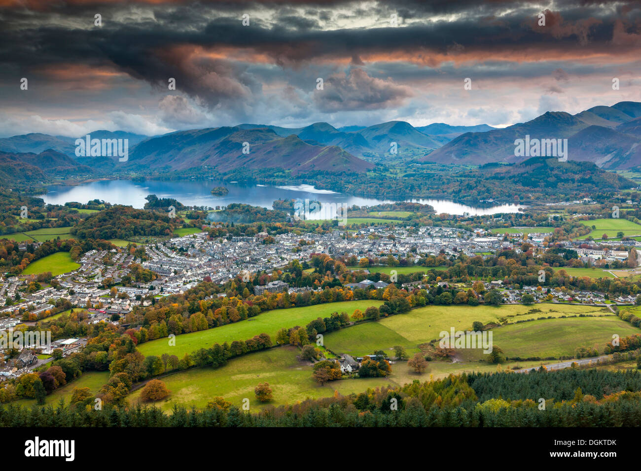 View over Keswick and Derwent Water from Latrigg summit in the Lake District National Park. - Stock Image
