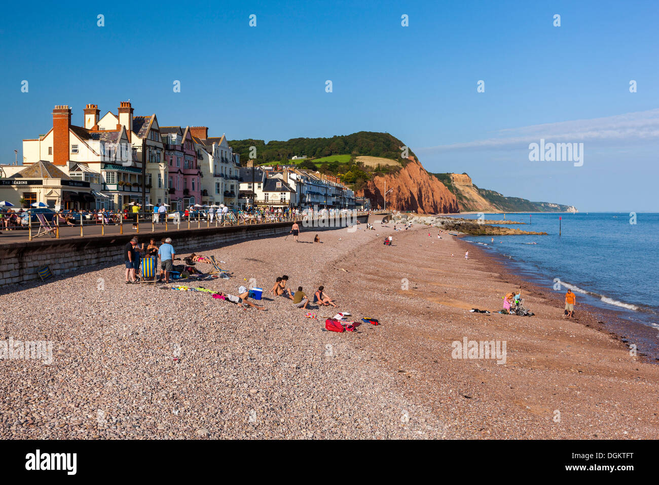 Jurassic Coast beach and cliffs at Sidmouth. - Stock Image