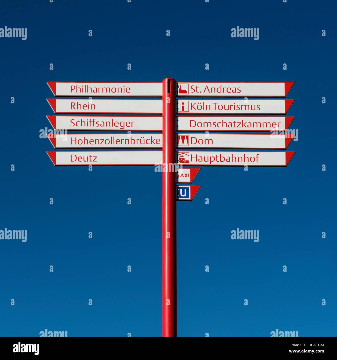 Signpost, lettering, 'Philharmonie, Rhein, Schiffsanleger, Hohenzollernbruecke, Deutz, St. Andreas, Koeln Tourismus - Stock Image