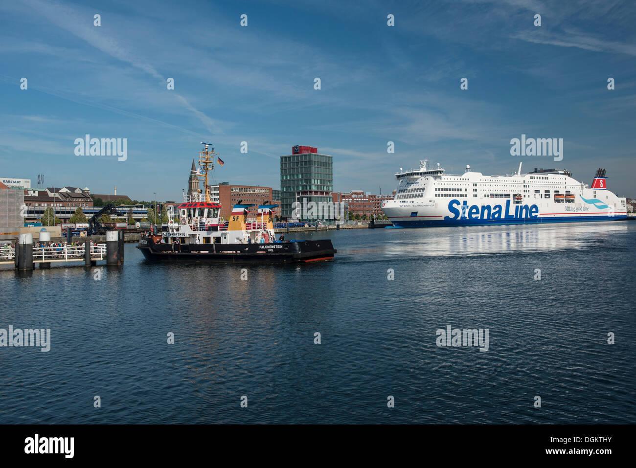 Kiel Fjord on the harbour, ferry dock, Hafenhaus Kiel building and the Stena Line dock, international ferries, Kiel - Stock Image