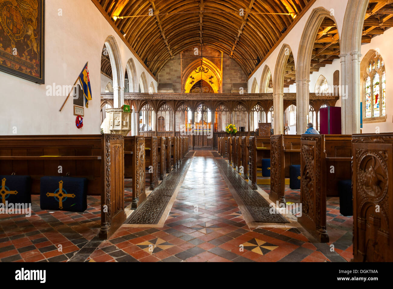 Interior of St George's Priory church in Dunster. - Stock Image