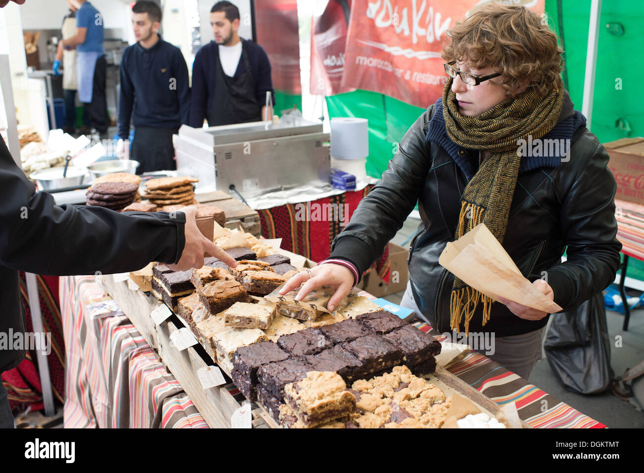 Artisan bakeries from across London set up their stalls on the South Bank to show and sell their wares at The Real Bread Festiva - Stock Image