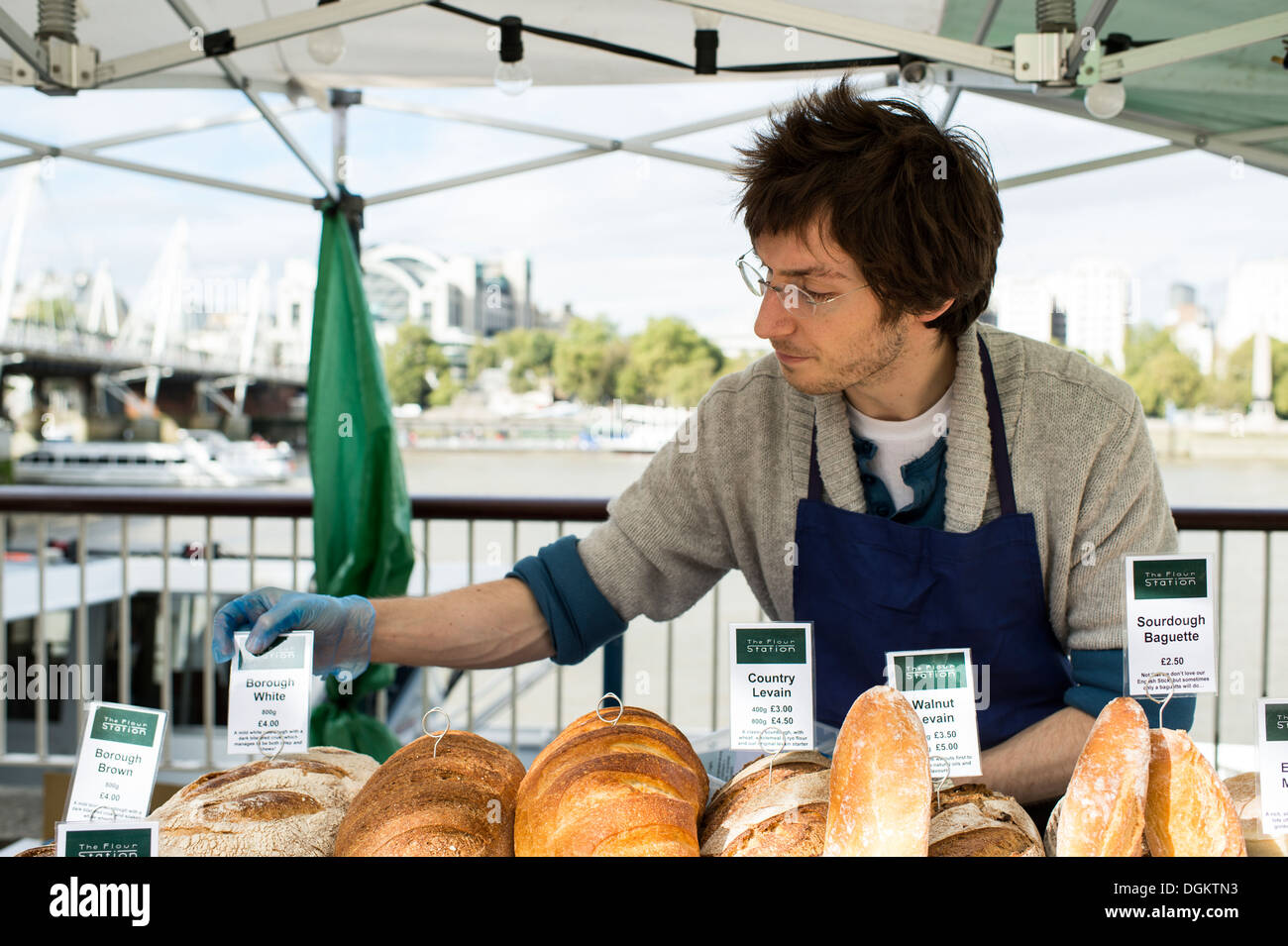 The market stall of an artisan bakery at the London Bread Festival. - Stock Image