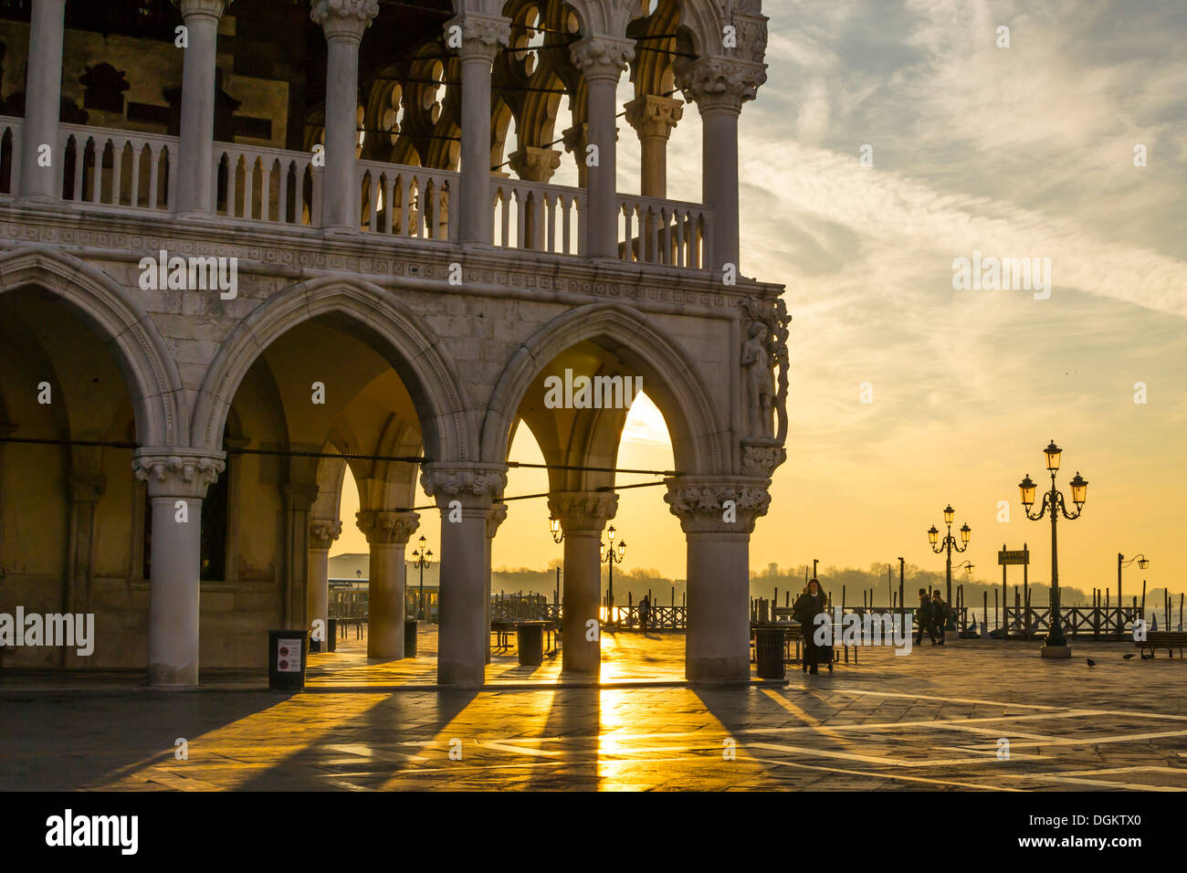 Morning light and shadows of Doge's Palace in Venice. - Stock Image