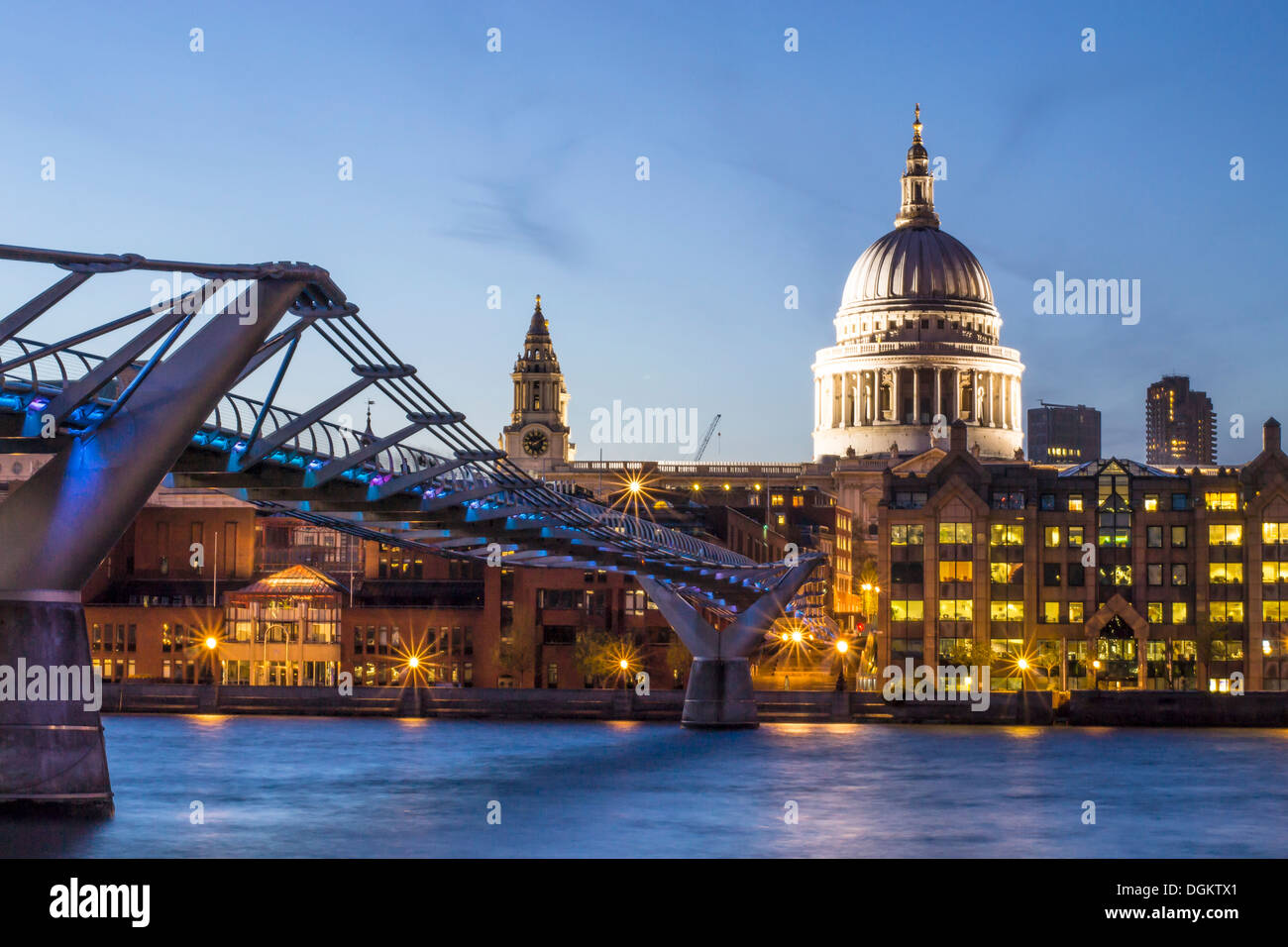A view from Bankside towards St Paul's cathedral dome. - Stock Image