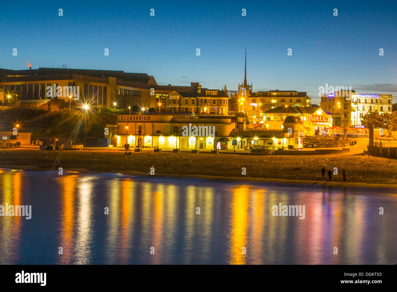 A view of Bournemouth beachfront from the pier. - Stock Image