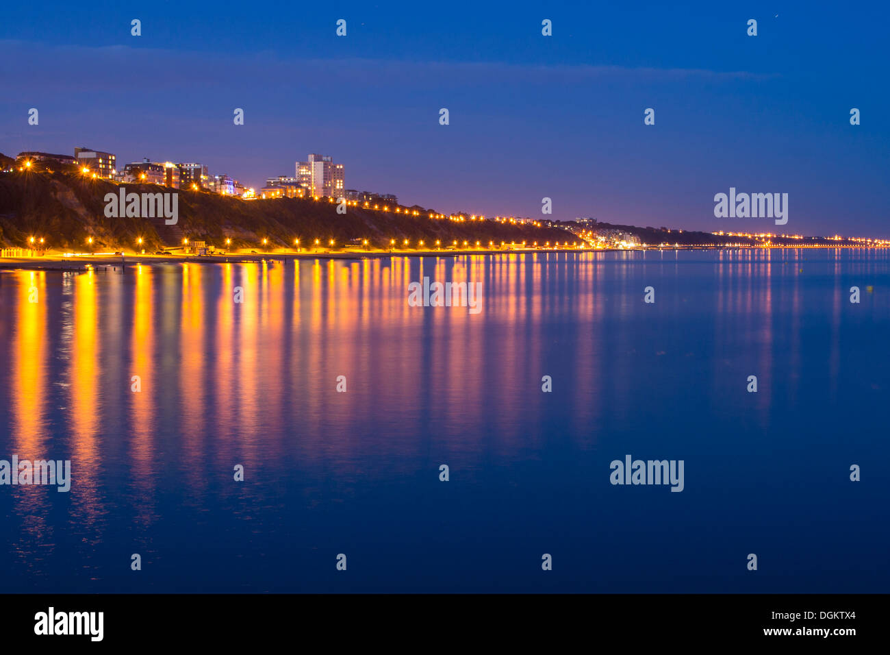 A view of Bournemouth coast line after sunset. - Stock Image