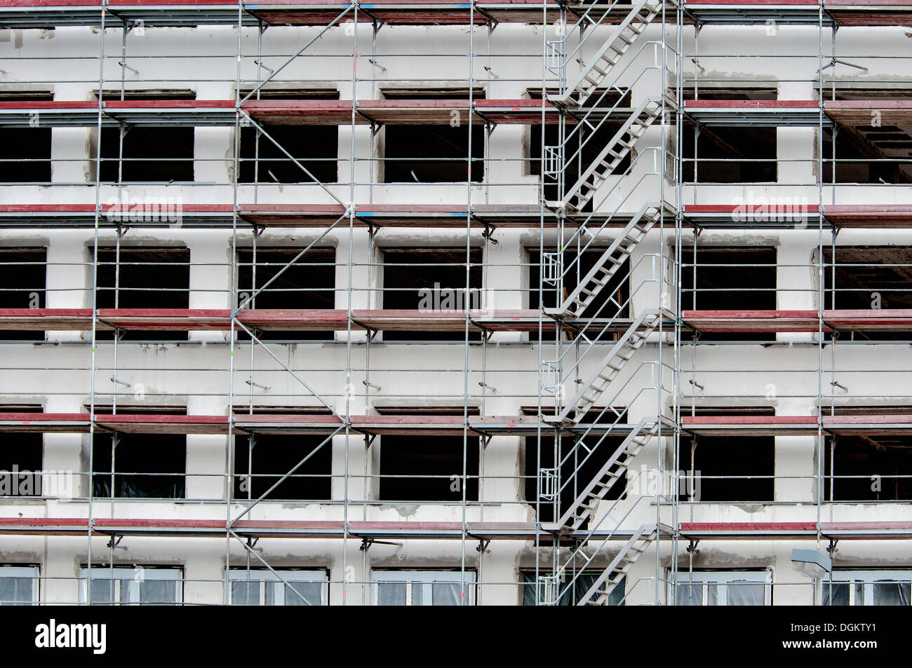 Commercial construction, scaffolded shell with stairs, Bonn, North Rhine-Westphalia, PublicGround - Stock Image