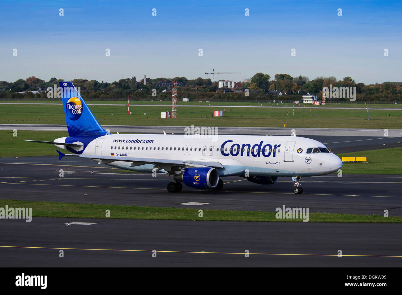 Condor Airbus A320, aircraft on the runway, Duesseldorf International Airport, North Rhine-Westphalia - Stock Image