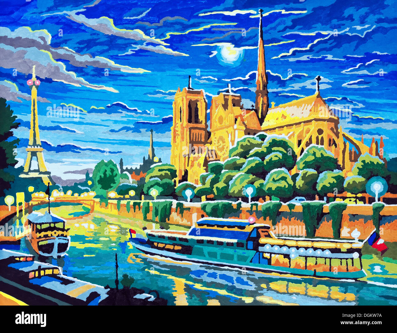 /'Notre Dame at Night/' Acrylic Painting on Canvas