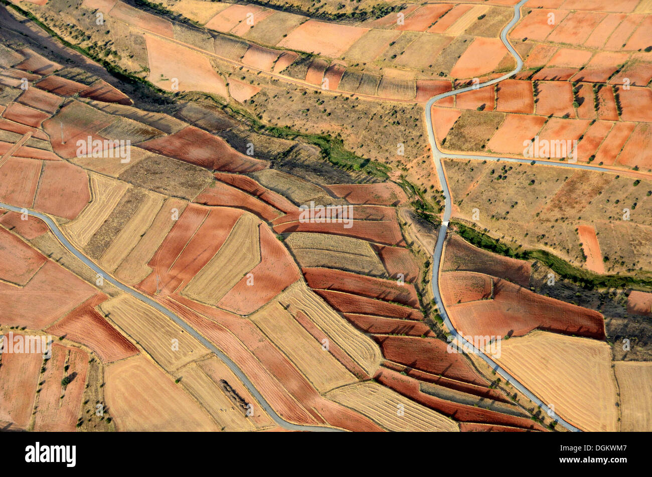 Aerial view, Castilian countryside, Soria, Castile and León, Spain - Stock Image