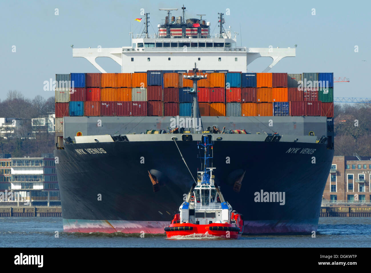 NYK Venus, container ship from the NYK Lines shipyard, Hamburg, Hamburg, Hamburg, Germany - Stock Image