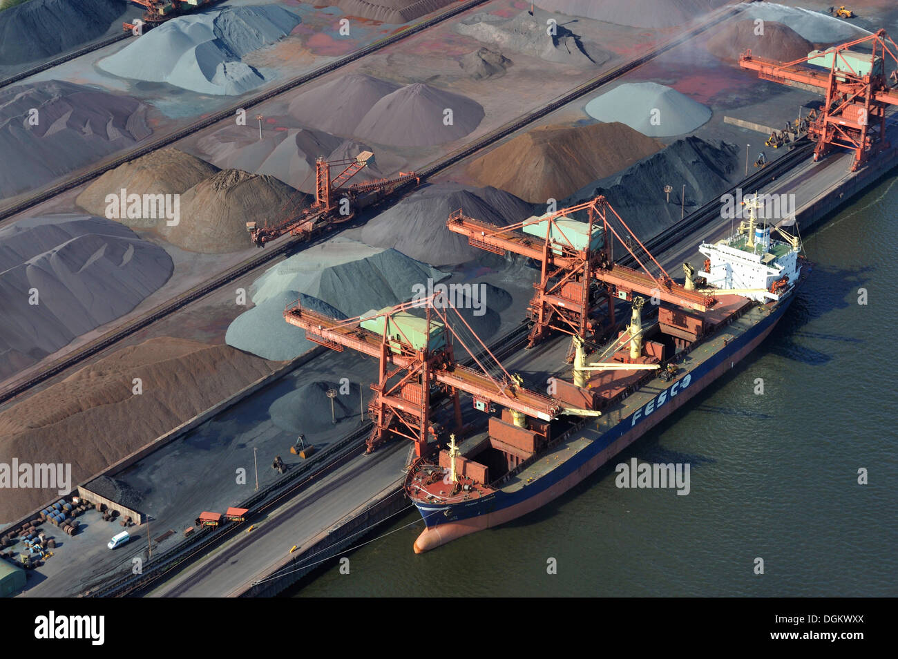 Aerial view, a ship of the Russian Far Eastern Shipping Company is unloading Russian ore, Hamburger Hansaport, Hamburg, Hamburg - Stock Image