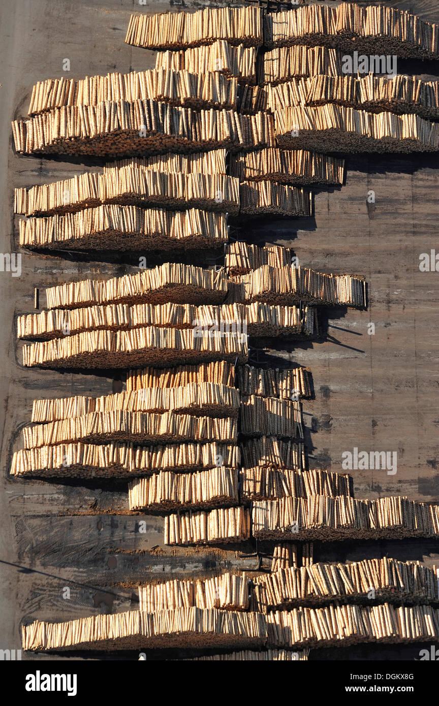 Aerial view, wood yard of Ilim Nordic Timber, Wismar, Mecklenburg-Western Pomerania, Germany - Stock Image