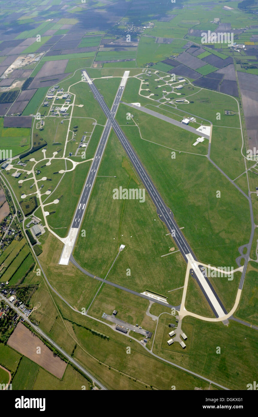 Aerial view, Schleswig Aerodrome, Jagel, Schleswig, Schleswig-Holstein, Germany - Stock Image