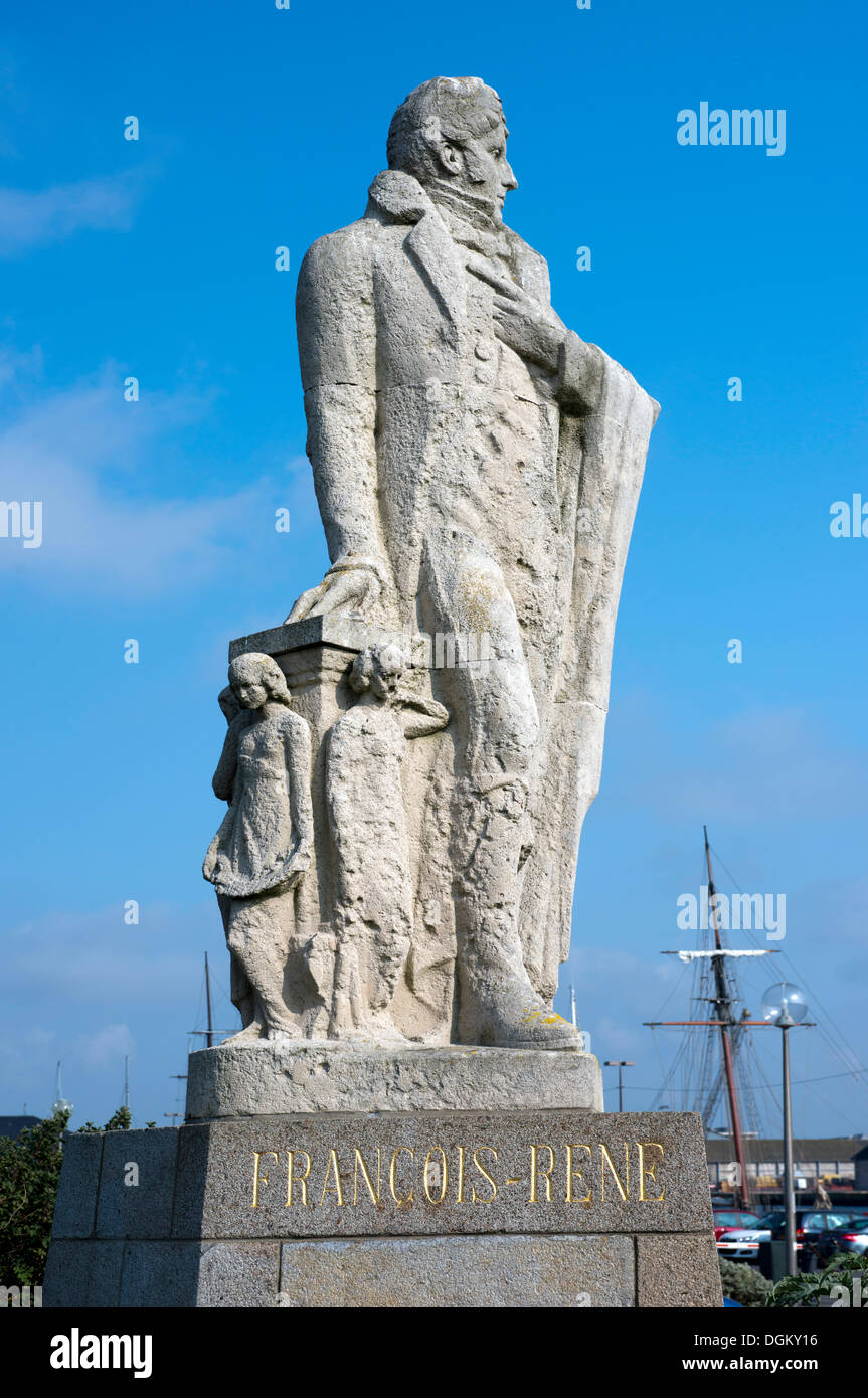 Statue of Francois-René de Chateaubriand, Saint-Malo, Brittany, France, Europe - Stock Image