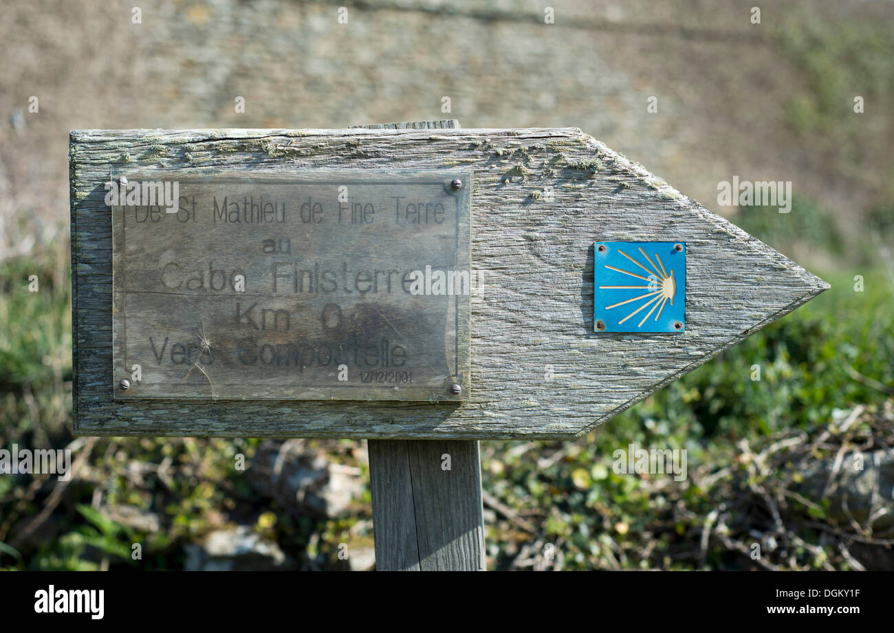 Signpost for the Camino de Santiago, Way of St. James, Finistère department of Brittany, France, Europe - Stock Image