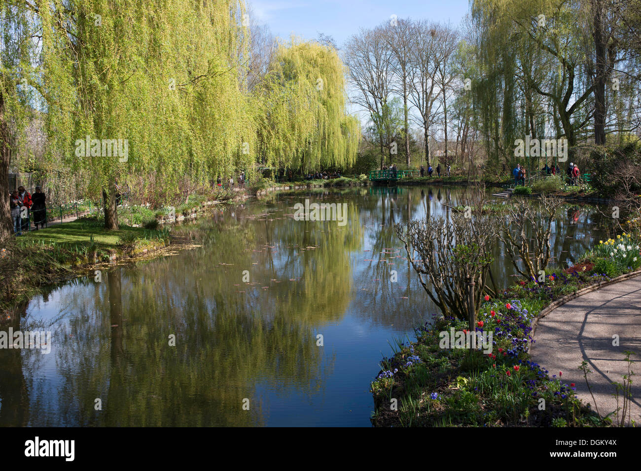 Lily pond in spring, property of Claude Monet, Giverny, Upper Normandy, France, Europe - Stock Image