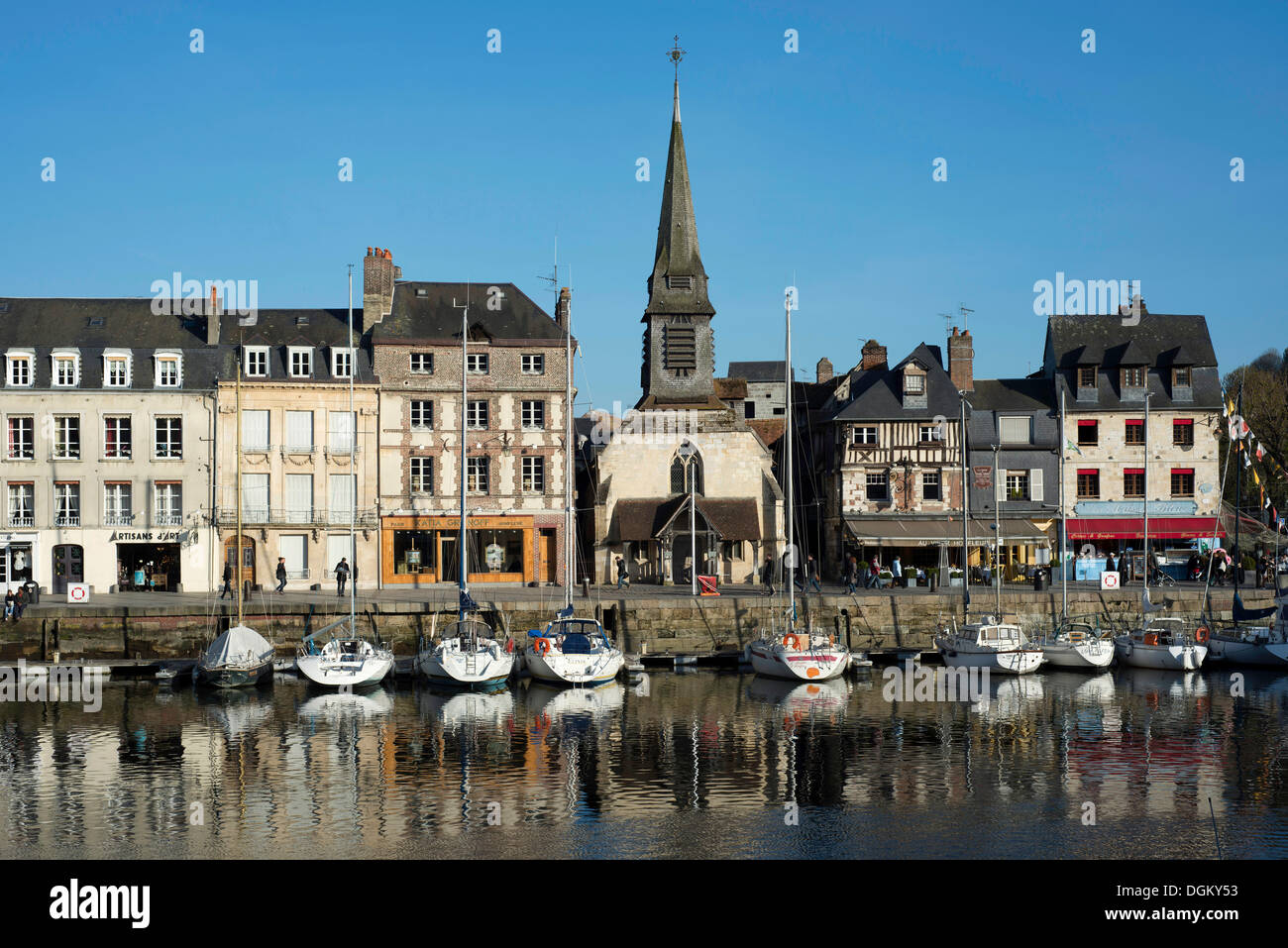 Port basin with a row of houses and the Naval Museum, Honfleur, Normandy, France, Europe - Stock Image